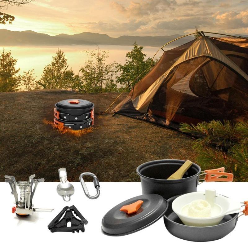 11 pcs/ensemble Portable 1-2 Personnes Vaisselle Kit Poêle Pot Cuillère Bol Mousqueton Cartouche Stand Trépied pour Camping En Plein Air la randonnée de Retour