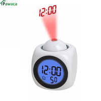 2017new LED Projection Voice Talking Alarm Clock Backlight Electronic Digital Projector Watch Desk Temperature Voice Display