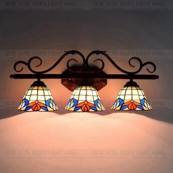 تيفاني الباروك خمر الزجاج الملون الحديد mermaid أضواء الجدار الإضاءة مصابيح السرير الجدار مصباح داخلي للمنزل ac 110 فولت/220 فولت e27