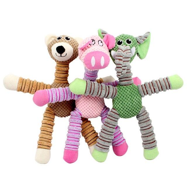 Pet Voz Brinquedos de Grande porte-elefante urso porco bonito modelagem cachorro grande cachorro mastigar brinquedos interativos universal Verde amarelo rosa