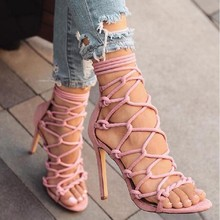 LZXGSJ 2018 New Fashion Sexy Elegant Flock Suede Women Sandals Solid Pattern  Lace up  Summer Ankle Strap Super  High Heel Shoes egonery summer 2018 new flock cross strap lace up and zip med square cover heel solid concise fsahion casual women sandals