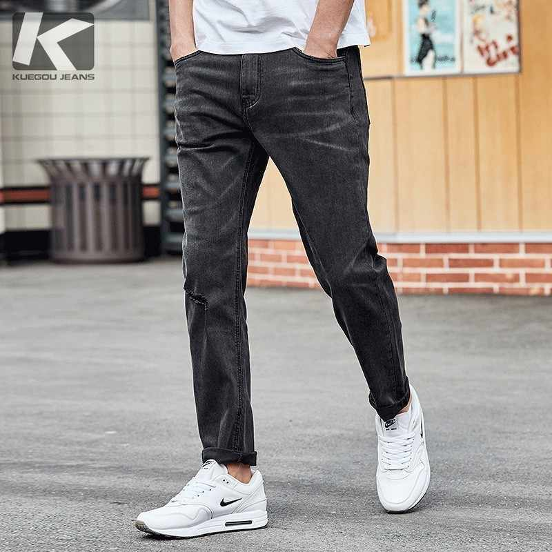KUEGOU 2019 Autumn Gray Jeans Men Brand Slim Fit Ripped Distress Pants For Male Fashions Streetwear Hip Hop Denim Trousers 2936