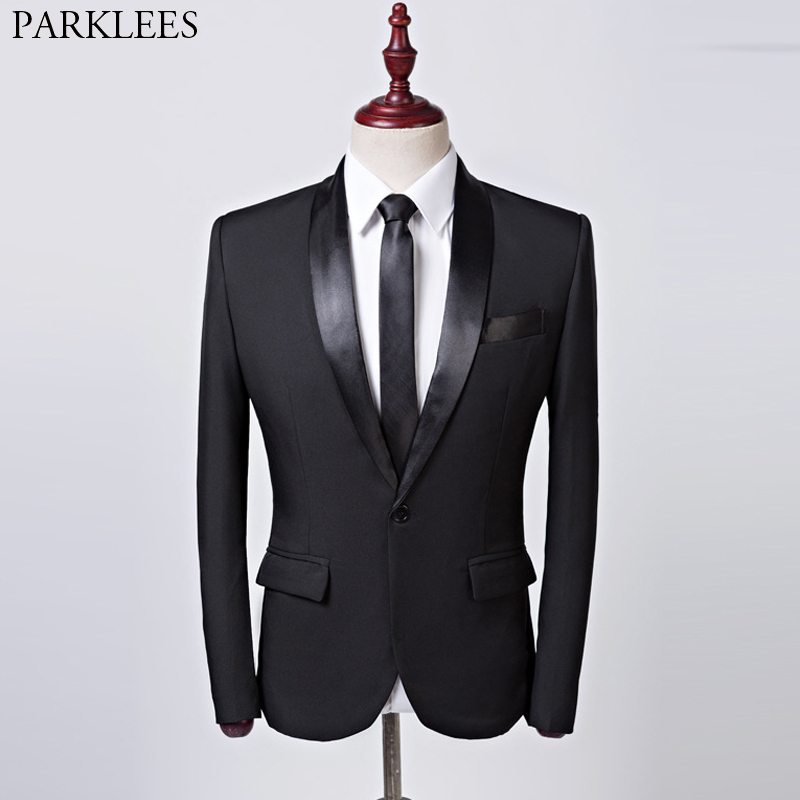 Black Slim Fit One Button Blazer Jacket Men 2019 Brand Shawl Collar Men Tuxedo Suit Jacket Business Wedding Formal Costume Homme