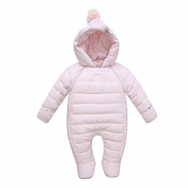 2016 Новый Ребенок Белая Утка Вниз Комбинезоны Зимние Мальчики Одежда для Новорожденных Snowsuit Новорожденных Девочек Теплое Пальто Комбинезоны для 0-2 Лет