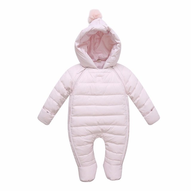 2016 New Baby White Duck Down Jumpsuits Winter Boys Clothing Newborn Snowsuit Infant Girls Warm Coat Overalls for 0-2 Years