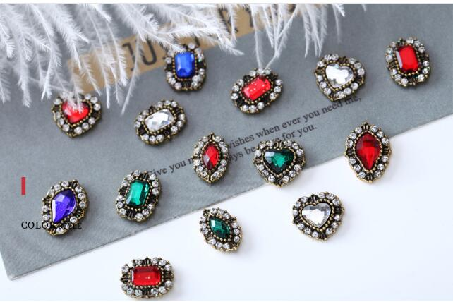 5Pcs lot Colorful Crystal Nail Charms Jewelry DIY Charms Art 3D Nail Decoration crystal Shaped Alloy Nail Art Diamond Stickers in Rhinestones Decorations from Beauty Health