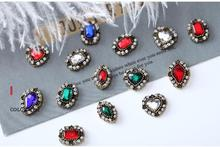 5Pcs/lot Colorful Crystal Nail Charms Jewelry DIY Art 3D Decoration crystal Shaped Alloy Diamond Stickers