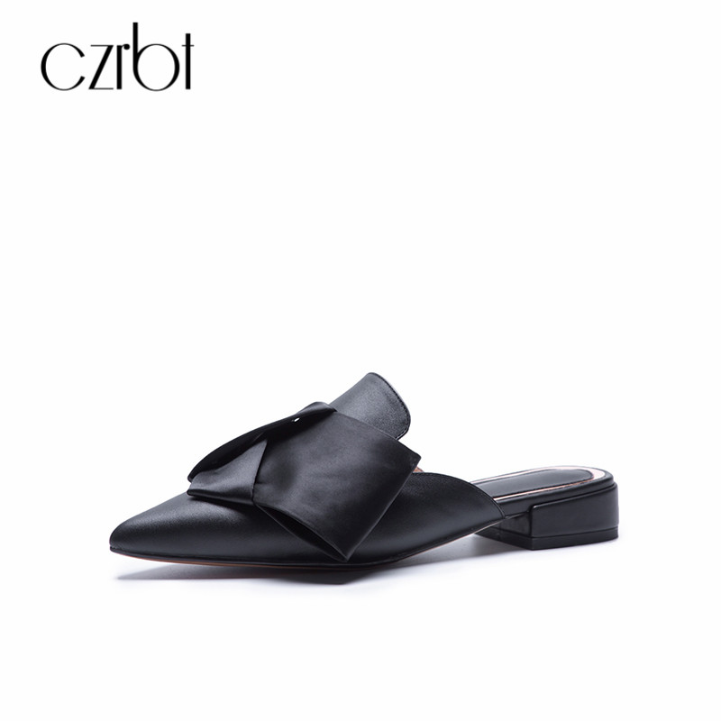 CZRBT Slippers 2018 Women Genuine Leather Mule Shoes Slides Women Flat Autumn Plus Size 34 43 Women Shoes Outdoor Zapatos Mujer