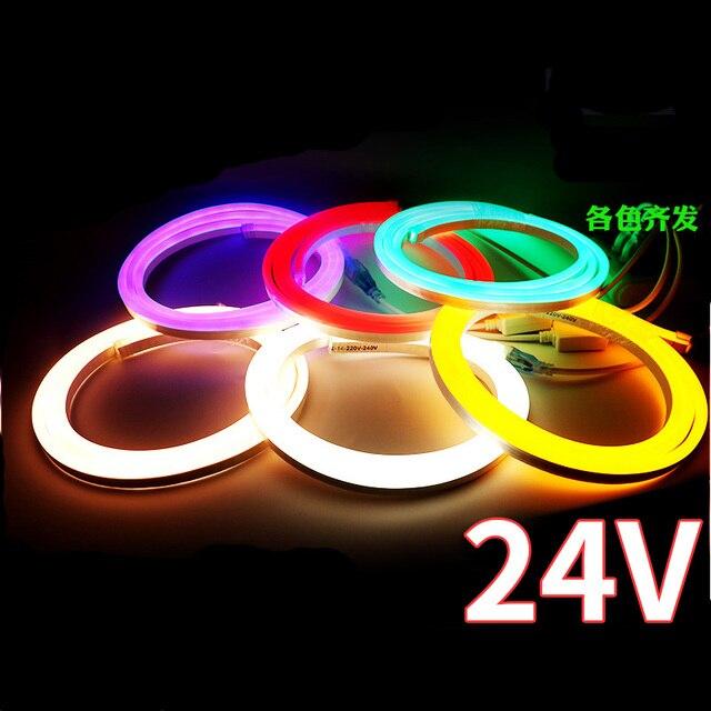 100m/lot 25*15mm LED Neon Light Flexible Lights RGB DC12V 24V AC110V Advertising Sign Modeling Waterproof IP65 Outdoor Lighting