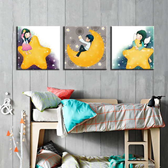 3 Panels Decorative Canvas Painting Kids Room Cartoon Star Moon Art Pictures On Walls Baby