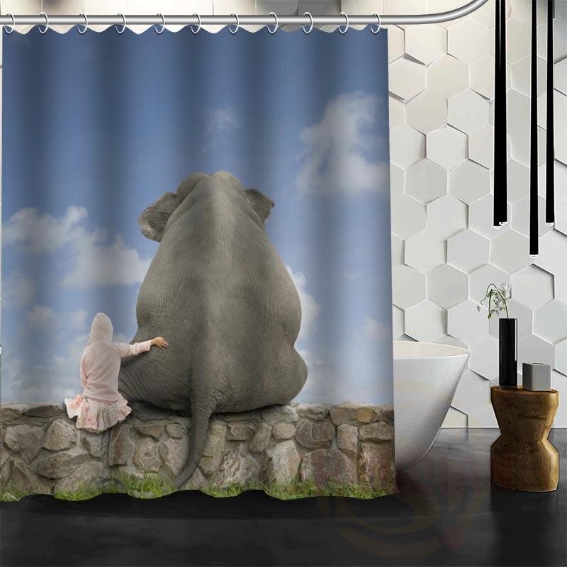 Best Nice Custom Classic Elephant 01 Shower Curtain Bath Curtain Waterproof Fabric For Bathroom MORE SIZE WJY#23