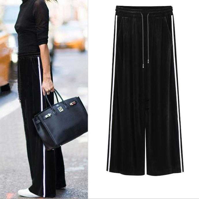 Plus Size 6XL Women Velvet Trousers 2018 Elastic Waist Casual Loose Autumn Winter Warm Women   Wide     Leg     Pants