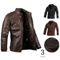 Hot sale stand collar men's pu leather motorcycle jacket and coats outwear overcoat 3 colors size M L XL XXL CY102