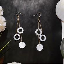 Accessories wholesale minimalist stud earrings Bohemian tassel white shells multilayer female pendant