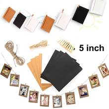 10pcs 5 inch Kraft Paper Photo Picture Frame Wall Hanging Album With Hemp Rope Clips Creative DIY Hanging Wall Photo Frams(China)