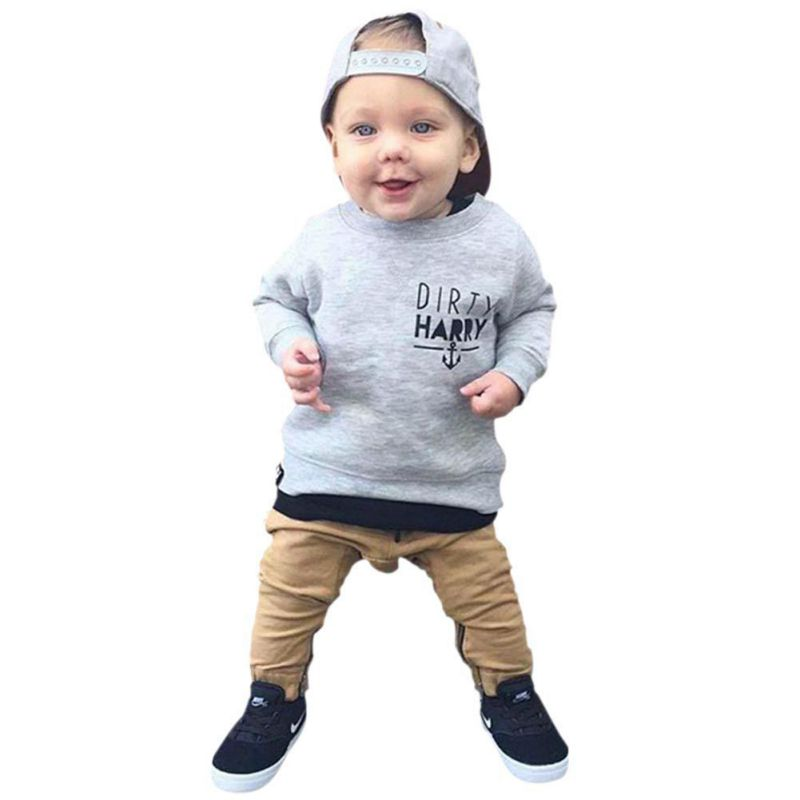 Newborn Infant Baby Clothes Set Kids Boys Girls T-shirt Tops+Pants Anchor Print Outfit Sets Autumn Winter Clothing