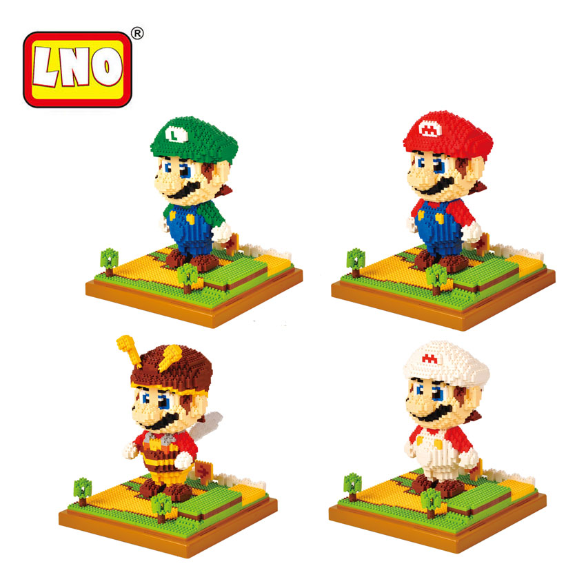 LNO Super Mario Bros Action Figures Nano Blocks DIY Diamond Assembly Model Micro Building Bricks Educational Toys For Kids Gifts