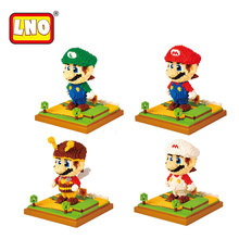 LNO Super Mario Bros Action Figures Nano Blocks DIY Diamond Assembly Model Micro Building Bricks Educational Toys For Kids Gifts