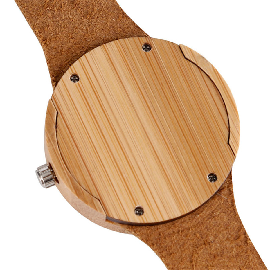 Creative Bamboo Blue Green Wooden Watch Dial Genuine Leather Casual Lovers Women Roman Number Quartz Wristwatch Relojes (10)