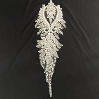 Deluxe Rhinestone bodice applique for haute couture for wedding dress veil 1piece,heavy crystal bead applique bridal accessories
