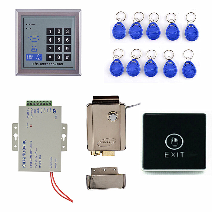 Access Controller 125KHz Rfid Keypad Access Control System Kit + Electronic Door Lock + Power Supply access control door system rfid electronic lock rfid reader access control system with keypad key tag access control