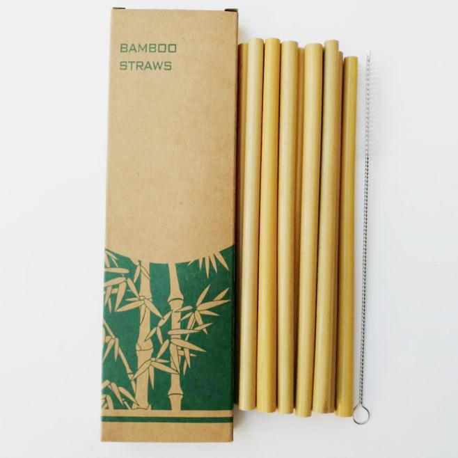 30sets Bamboo Straws Sets Reusable Eco Friendly Handcrafted Natural Bamboo Drinking Straws and Cleaning Brush