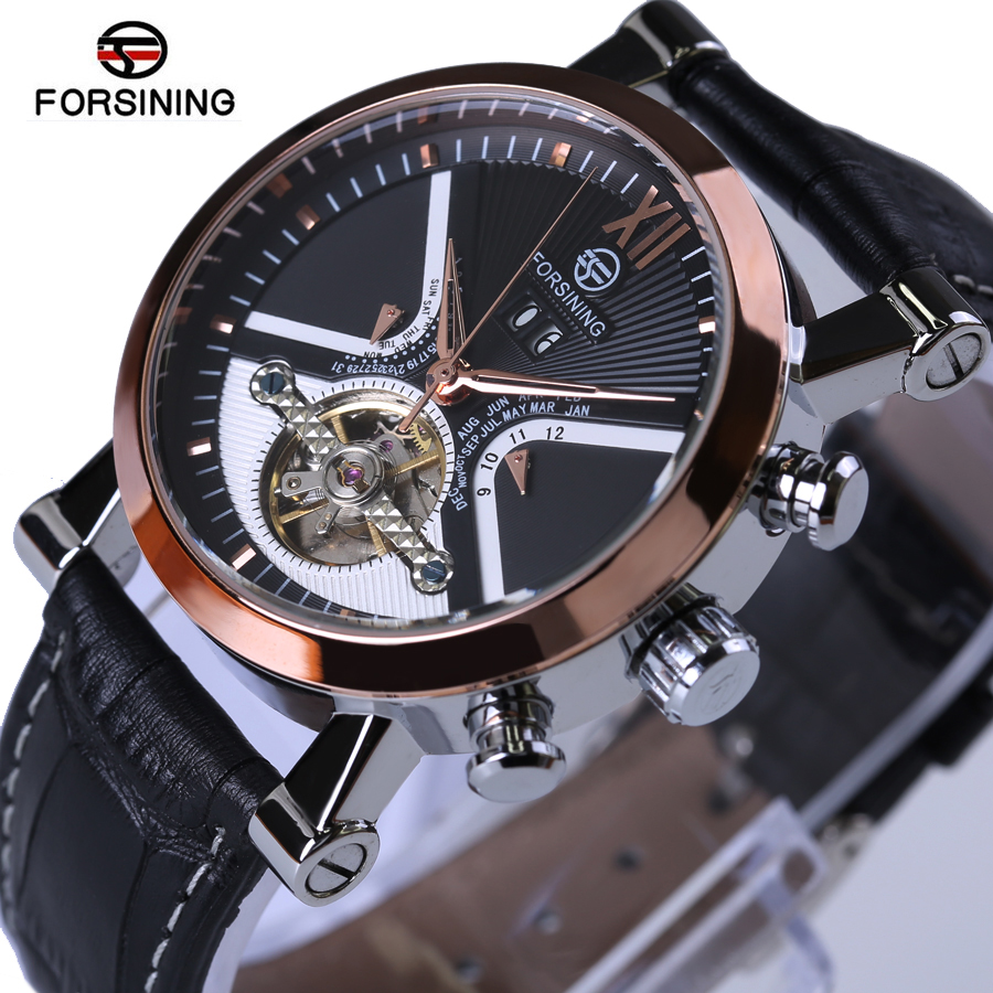 Forsining New Tourbillon Men Watches Automatic Watch Rose Gold Case Calendar Male Clock Black Mechanical Clock Relogio Masculino spring and autumn new children s autumn clothing and pants suit long sleeve cotton baby underwear home clothing two piece suit