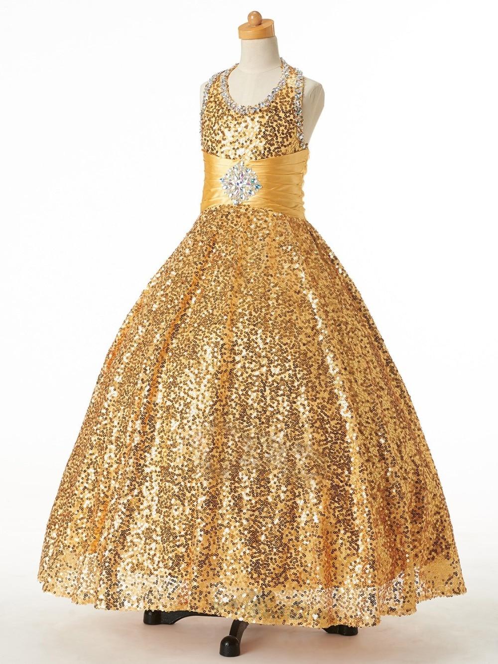 Bright Gold Sequins Halter Beads Flower Girl Dresses Princess