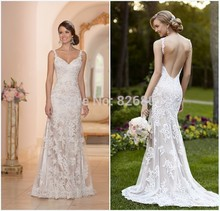 Vestido De Noiva Sereia Sexy Backless Wedding Dresses Robe Mariage Mermaid Lace 2015 Gowns Casamento