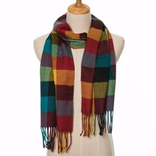 Fashion men scarf font b tartan b font plaid winter warm cotton scarves