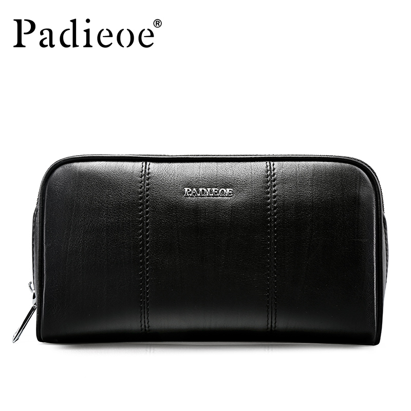 Padieoe Genuine Cow Leather Clutches Wallets Fashion Casual Long Purses for Phone Men Zipper Coin Purse Card Holder Male etya genuine cow leather men wallets