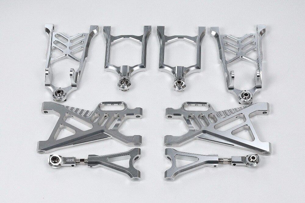 GTB racing CNC aluminum front rear lower upper arm set for HPI Rovan KM baja 5b