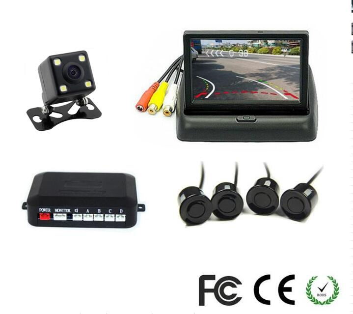 цена на Wireless Video Parking Radar 4 Sensors Kit 4.3inch Car Rear View Monitor + LED Rear View Car Camera Parking Assistance