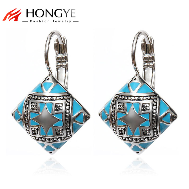 Ethnic Boho Jewelry Accessories Color Enamel Black Gold Silver Blue Orange Square Drop Earrings Printing Flower Ear Fashion