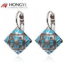 Ethnic Boho Jewelry Accessories Color Enamel Black Gold Silver Blue Orange Square Drop Earrings Printing Flower Ear Fashion