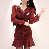 2019 Spring V Neck Ruffles Sexy Women Cloth Slim Wrinked Chiffon Patchwork Bodycon Fishtail Mini Dress