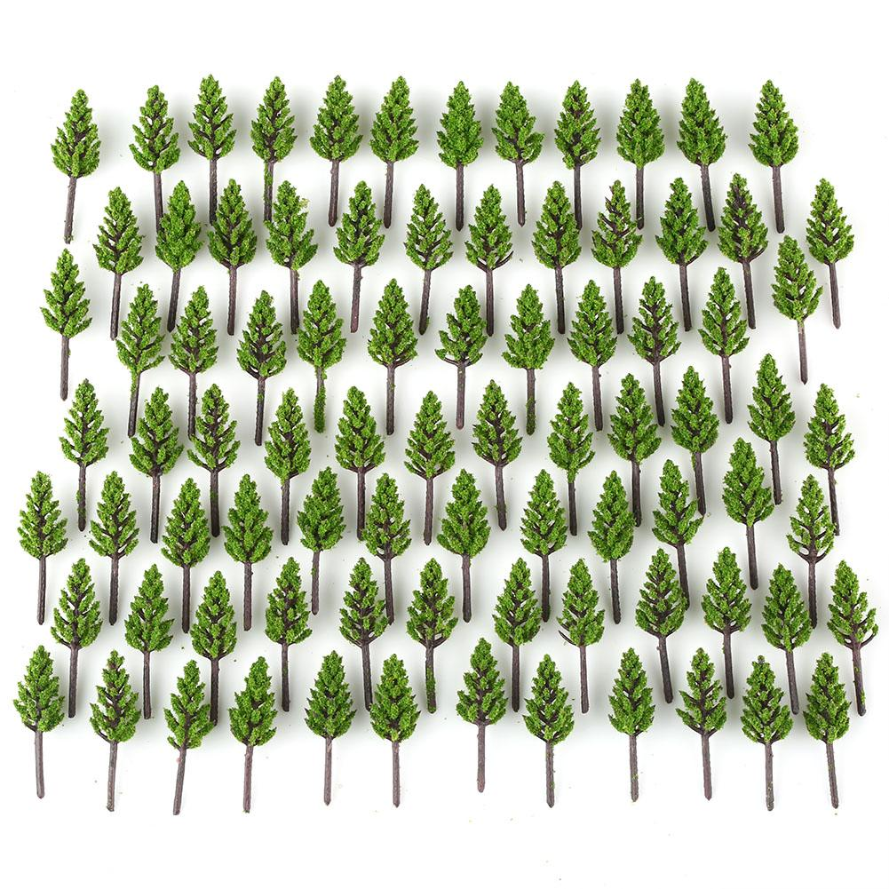 100pcs Model Pine Trees Deep Green For N Z Scale Building Street Layout 38mm