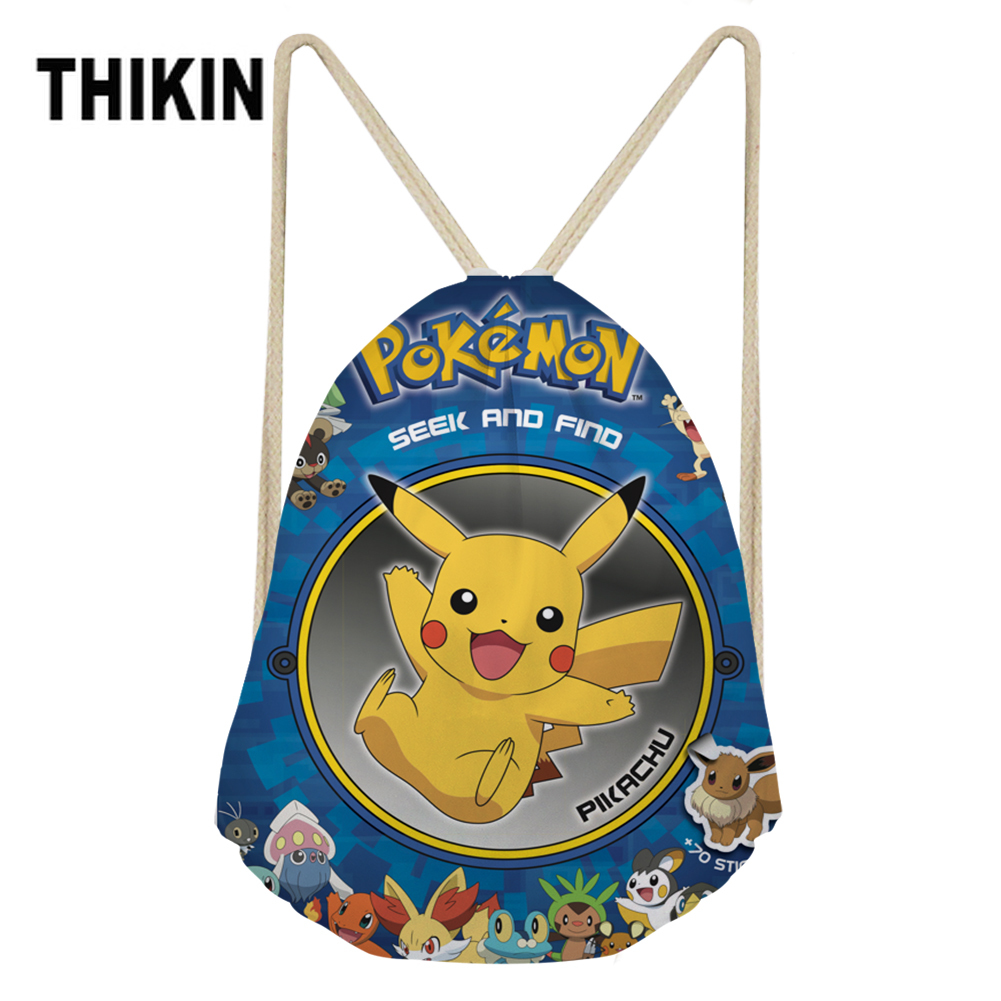 THIKIN Drawstring Bag Anime Pokemon Backpack Small Travel Storage Package Monster Pikachu Kids Boys Girls String Shoulder Bags