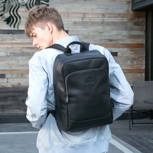 Image 2 - BISON DENIM Genuine Leather Men Backpacks Male Zipper Designer 15 inches School Backpack Mens Travel Cowhide Backpack N2757