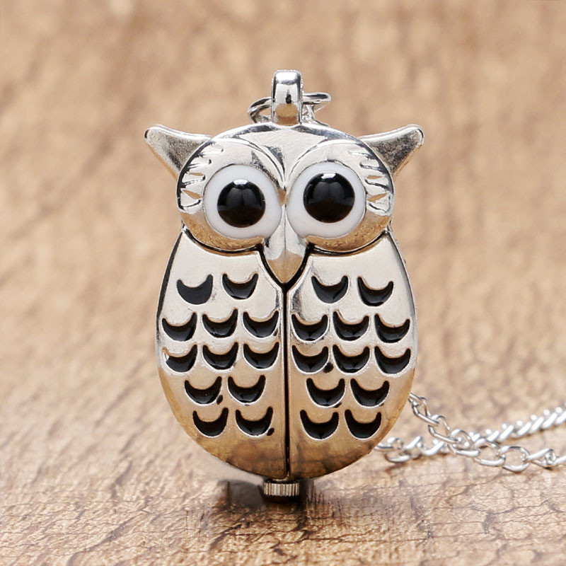 YISUYA Simple Creative Silver Owl Quartz Watch Pendant Fashion Women Gift Retro Necklace Pocket Watch Vintage Lady Analog Clock часы casio bga 131 4b3