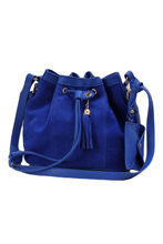 5pcs( ASDS Women Girl Bucket Bag PU Leather Drawstring Crossbody Messenger Shoulder Bag Royal blue