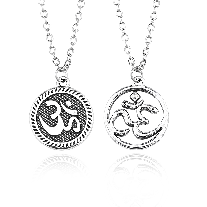 Vintage Yoga OM Pendant Necklaces Steampunk Amulet OHM Hindu Buddhist AUM OM Statement Necklace Fashion Sporty Jewelry Collares