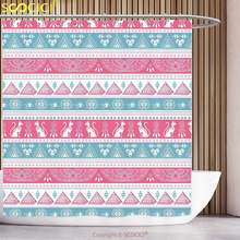 Fun Shower Curtain Tribal Ancient Egyptian Icons Cats Wings Pyramidss Eye of Ra Pattern Light Blue Pink White Bathroom(China)