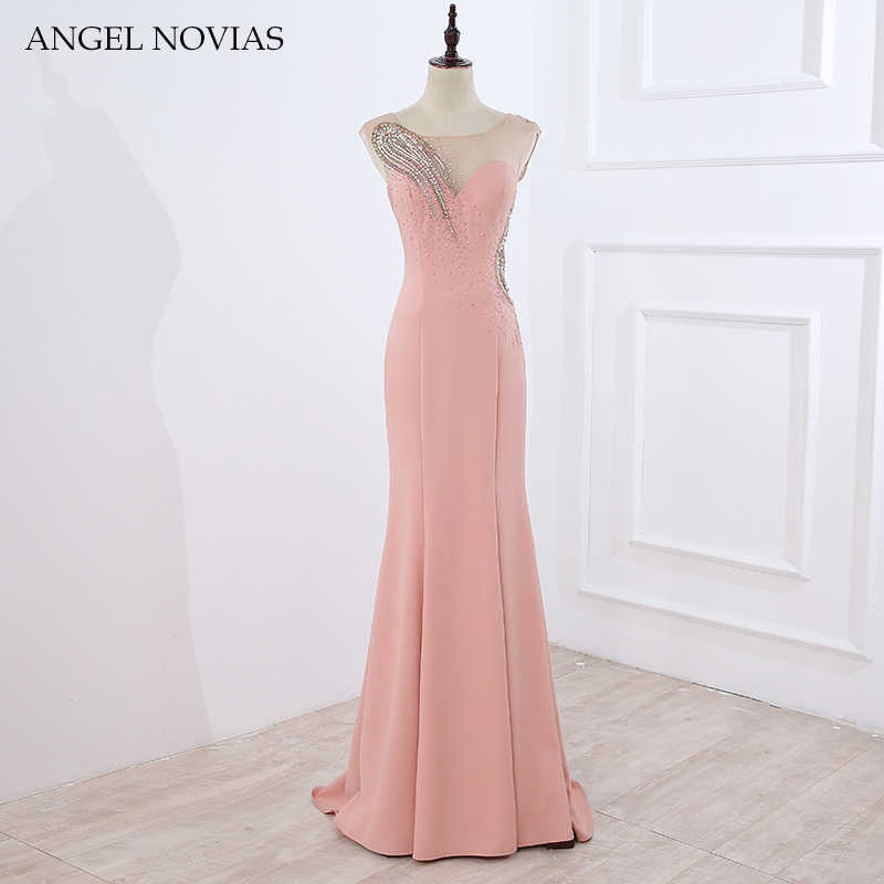 0af9b27918 ANGEL NOVIAS Long Mermaid Pink Evening Dresses 2018 Moroccan Evening Gowns  Turkish Crystals Sheer Back Women