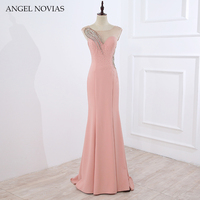43e0535e4 ANGEL NOVIAS Long Mermaid Pink Evening Dresses 2018 Moroccan Evening Gowns  Turkish Crystals Sheer Back Women