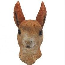 Halloween Brown Rabbit Latex Mask Costume  Masquerade Party Animal Cosplay