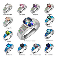 White Green Crystal Zircon Garnet Morganite Black onyx Opal Ring 925 Sterling Silver Ring Size 6 7 8 9 10