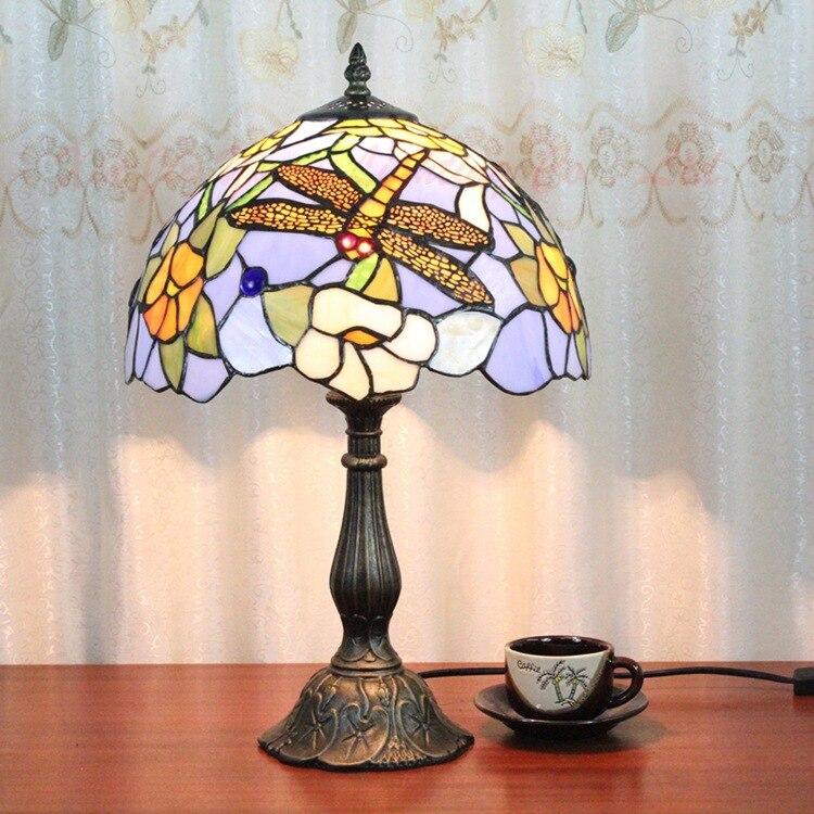8 дюймов плоти страна цветы Тиффани настольные лампы страна Стиль пятнистости Стекло лампы для Спальня ночники E27 110- 240 В