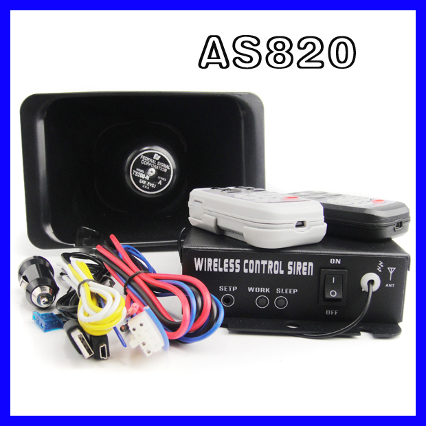 AS820 Car alarm 200w electronic siren 12V wireless / Wire alarm siren propaganda, set 10 warning tone function POLICE TRAFFIC