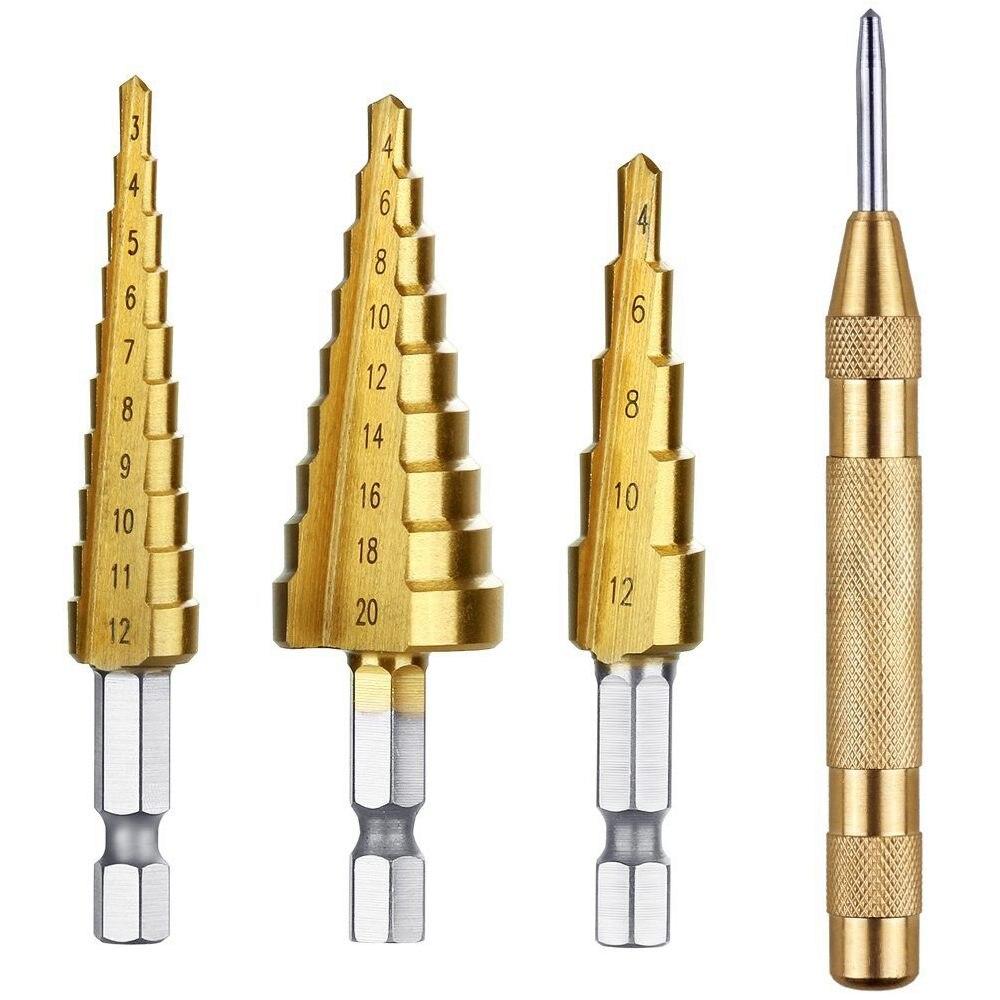 DSHA Hot Sale 3 Pcs HSS Titanium Step Drill Bit Set & 1 Pcs Automatic Center Punch